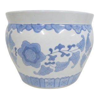 Chinese Floral Light Blue & White Jardiniere For Sale