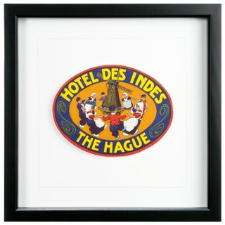 Framed Vintage Hotel Luggage Label - Hotel Des Indes Hague For Sale