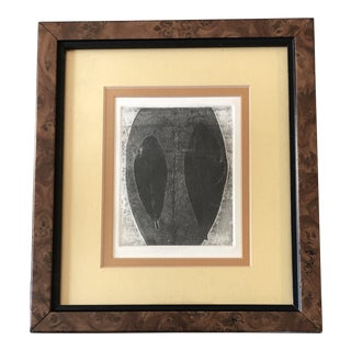 Original Small 1960's Organic Lithograph Print in Vintage Burled Wood Frame For Sale