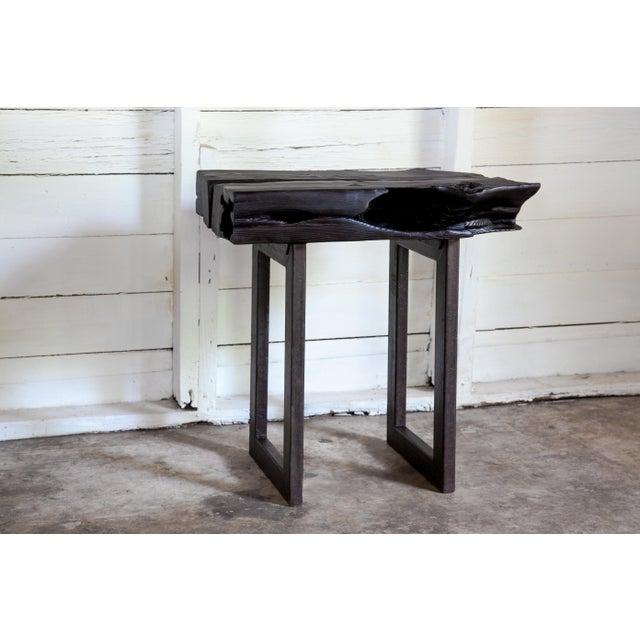 Asian Modern Yakisugi Wood and Metal Side End Table For Sale - Image 13 of 13