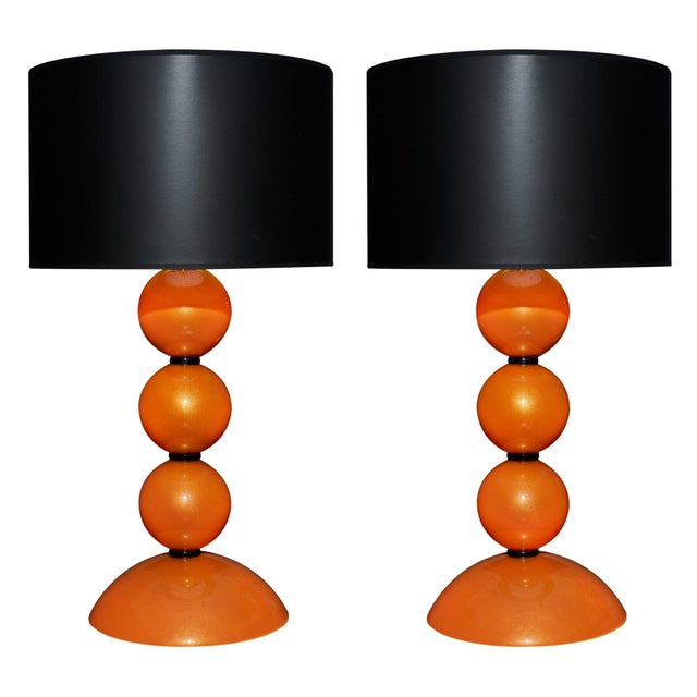 Orange Murano Glass Lamps For Sale - Image 10 of 10