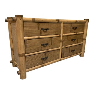 Bamboo and Rattan Double Dresser For Sale