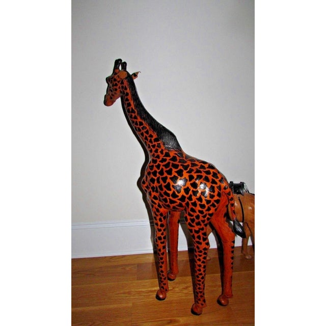 Anglo-Indian Handcrafted Leather Wrapped Paper Mache Giraffe and Camel - Set of 2 For Sale - Image 3 of 12
