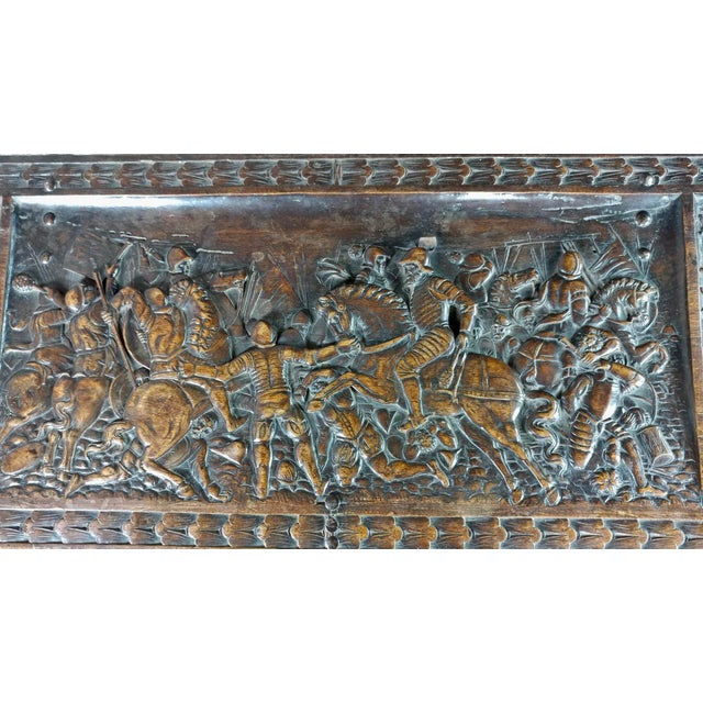 Brown 18th Century Highly Carved Italian Renaissance Cassone For Sale - Image 8 of 11