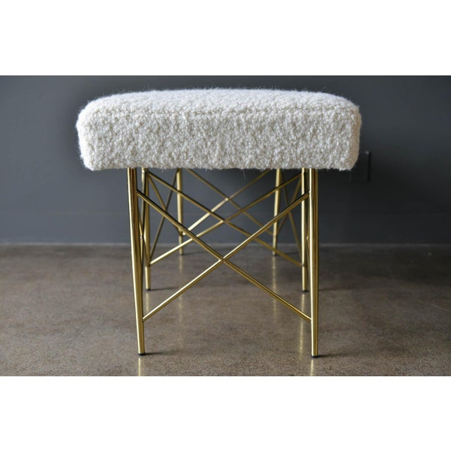 Metal 1970s Ivory Bouclé and Brass X-Base Ottoman Bench For Sale - Image 7 of 12
