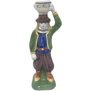 Quimper Breton Boy Candlestick For Sale