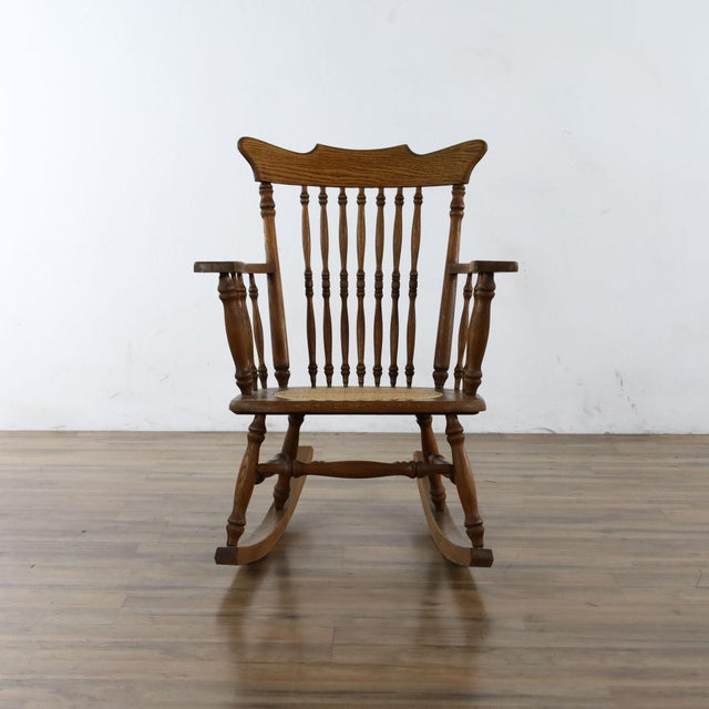 Brown Antique Spindle Back Oak Rocking Chair For Sale - Image 8 of 8