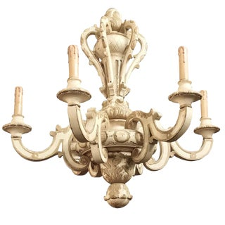 Antique French Louis XIV Painted Hand-Carved Wood Chandelier For Sale
