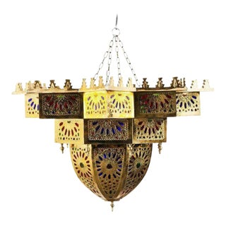 Vintage Moroccan Style Brass and Colored Glass Chandelier For Sale