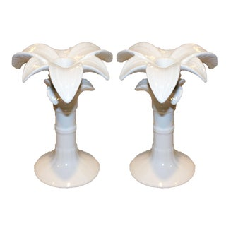 Vintage Palm Beach Regency-Style White Ceramic Palm Tree Candleholders - a Pair For Sale