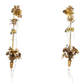 Fantastic Hollywood Regency Tole Peinte Floral Hanging Lights - a Pair For Sale