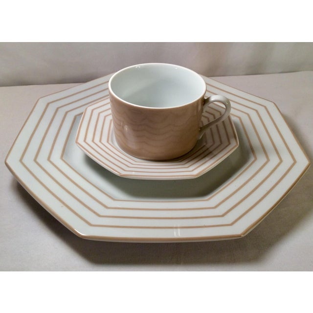 "1978 Fitz & Floyd Vintage China Table Service in Pinstripe ""Buff""-New/Old Stock, Set of 24pcs (8settings) For Sale In Nashville - Image 6 of 13"