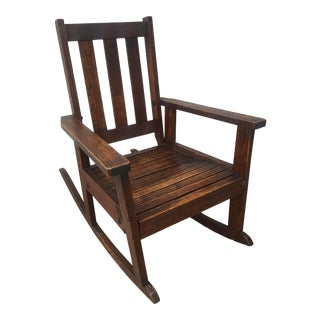 Antique Stickley Style Mission Oak Child's Rocking Chair For Sale