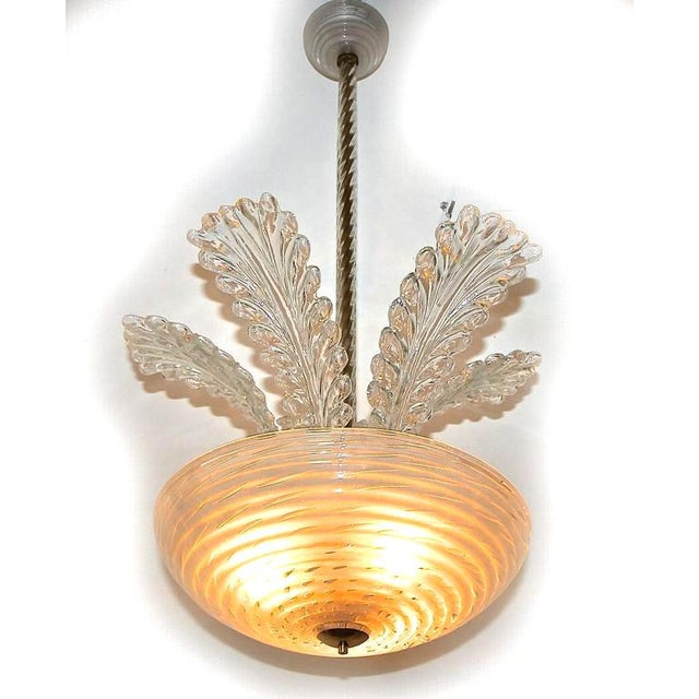 Gold 1950s Italian Barovier Murano Glass Leaf Chandelier For Sale - Image 8 of 10