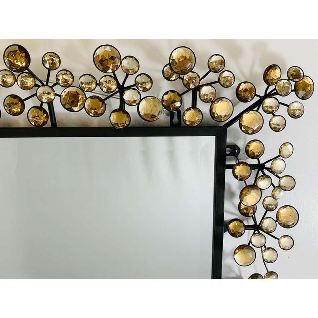 Mid-Century Modern Mid-Century Modern Black and Faux Crystal Accent Beveled Wall Mirror For Sale - Image 3 of 13