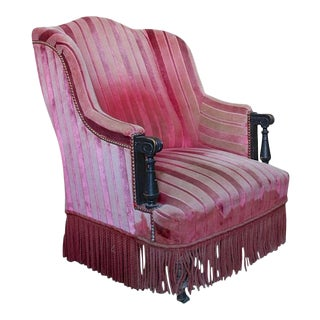 Unusual French Armchair in Faded Red Velvet For Sale