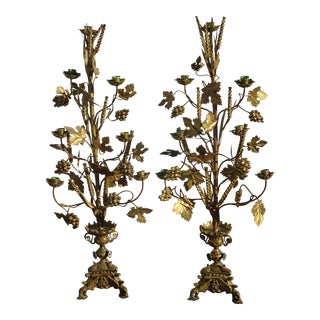 "Pair 36""h Vintage Gold Table Clustered Grape Leaves Candelabras Brass Candle Holders Light For Sale"