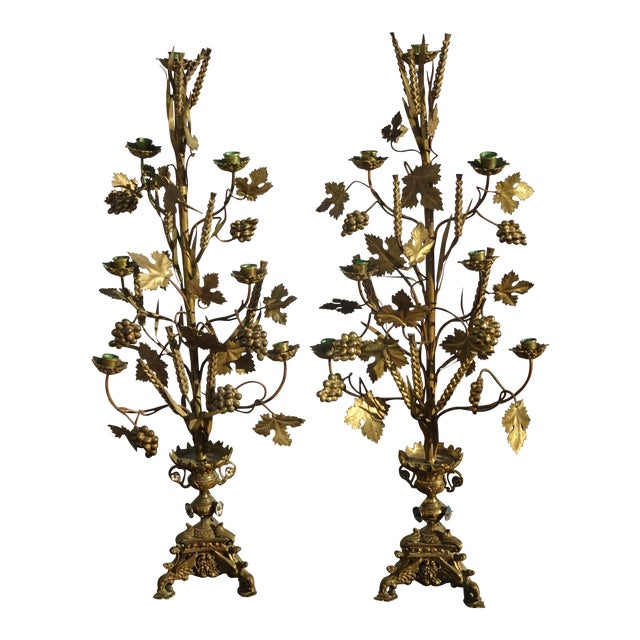 """Pair Tall 36""""h Vintage Gold Table Top Floral Candelabras Brass Candle Holders Light For Sale"""