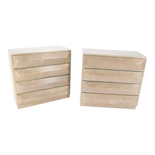 1950s Mid-Century Modern Bleached Walnut Bachelor Chests - a Pair For Sale