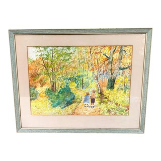 Original Watercolor - Two Children Walking in the Woods For Sale