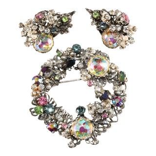 Original by Robert Brooch Earrings Set Rhinestones Faux Pearls Vintage For Sale