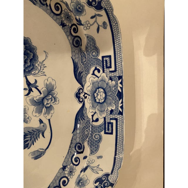 English Antique Mason's Staffordshire Blue and White Platter For Sale - Image 3 of 9