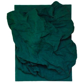 """Emerald Green Folds"" Mixed Media Wall Sculpture by Chloe Hedden For Sale"