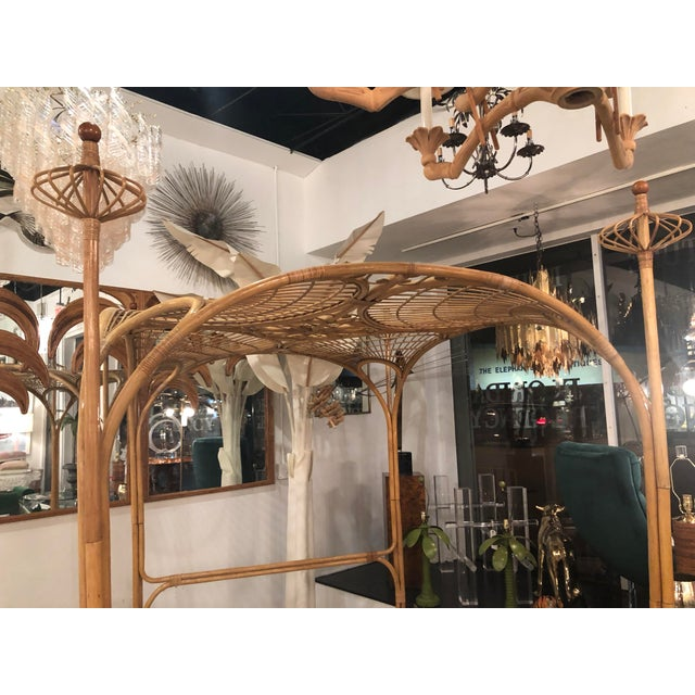 1970s Vintage Tropical Boho Palm Beach Rattan Queen Size Canopy Bed For Sale - Image 5 of 13