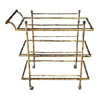 Vintage Gold Gilt Metal Three Tier Bamboo Bar Cart For Sale