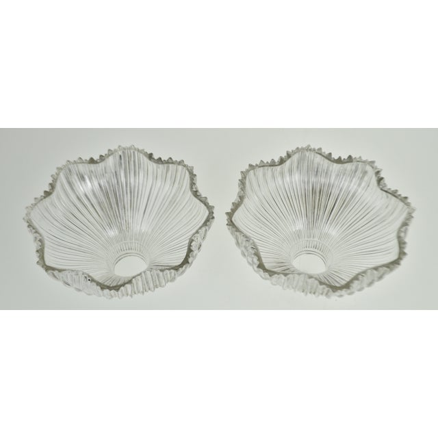 Art Nouveau 1905 Franklin Ribbed Glass Light Shades - a Pair For Sale - Image 4 of 12
