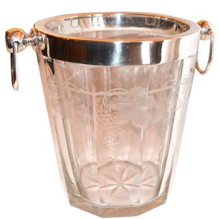 1900s English Etched Crystal and Silver Ice Bucket For Sale