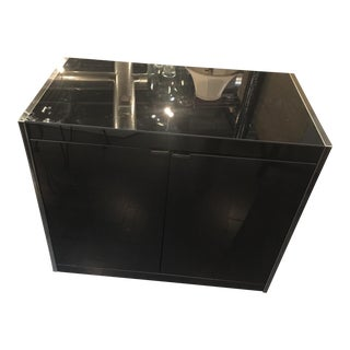 1980s Contemporary Black Glossy 2 Door 1 Shelf Storage Cabinet For Sale