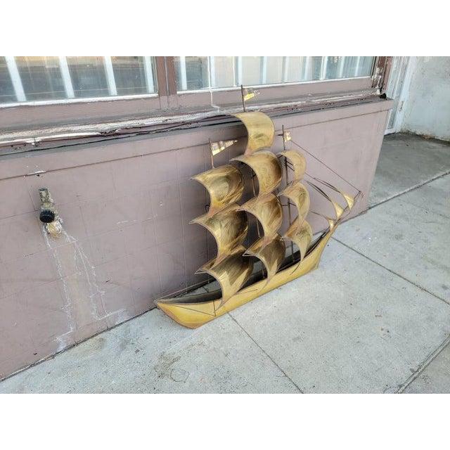 1970s Vintage Brass Ship Sculpture For Sale - Image 4 of 13