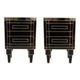 Image of New Pair of Mirrored Nightstands in Black Mirror With Two Drawers For Sale
