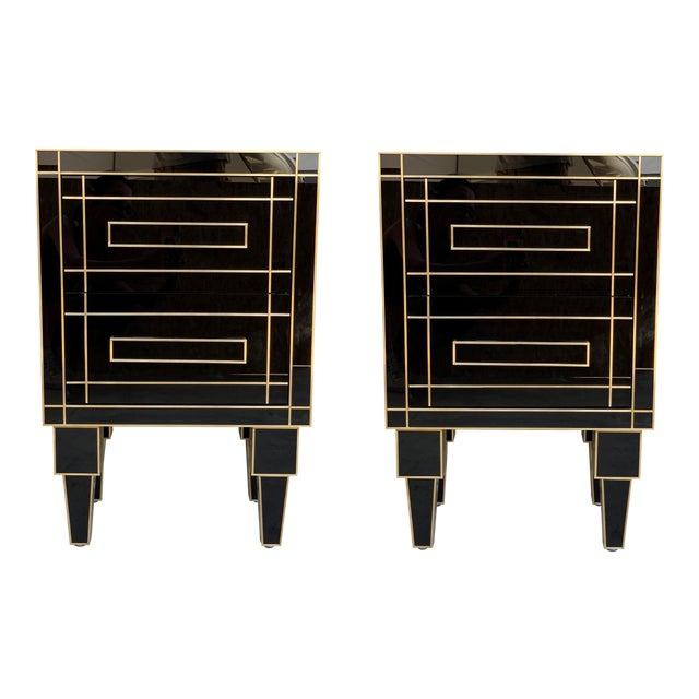 New Pair of Mirrored Nightstands in Black Mirror With Two Drawers For Sale