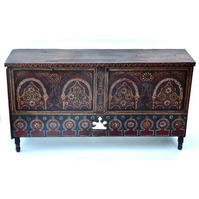 Moroccan Polychrome Wedding Chest 1940s For Sale - Image 4 of 12