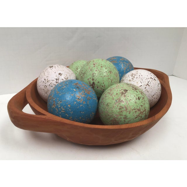 Paint 1950s Italian Painted Wooden Bocce Balls - Set of 7 For Sale - Image 7 of 8