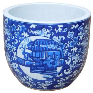Blue & White Chinese Ceramic Planter For Sale