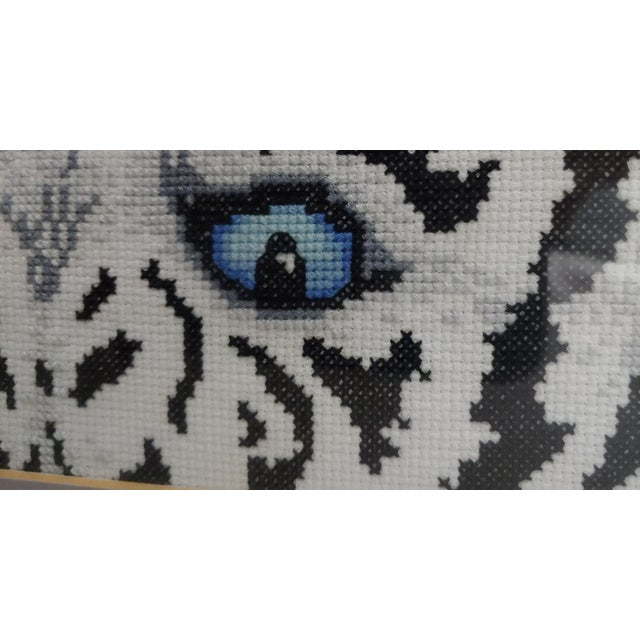 Indian Hand Embroidered Bengal Tiger Eyes in Frames - a Pair For Sale - Image 3 of 4