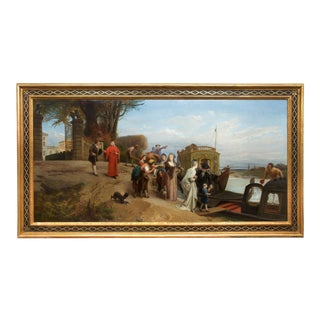 """French Antique Landscape Painting """"The Departure"""" (1874) by Edouard Girardet For Sale"""