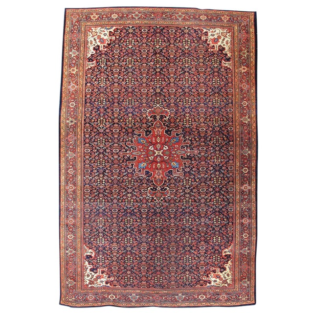 Fereghan Sarouk Carpet with Blue Field For Sale