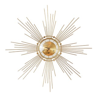 1940s Art Deco Style Brass Clock For Sale