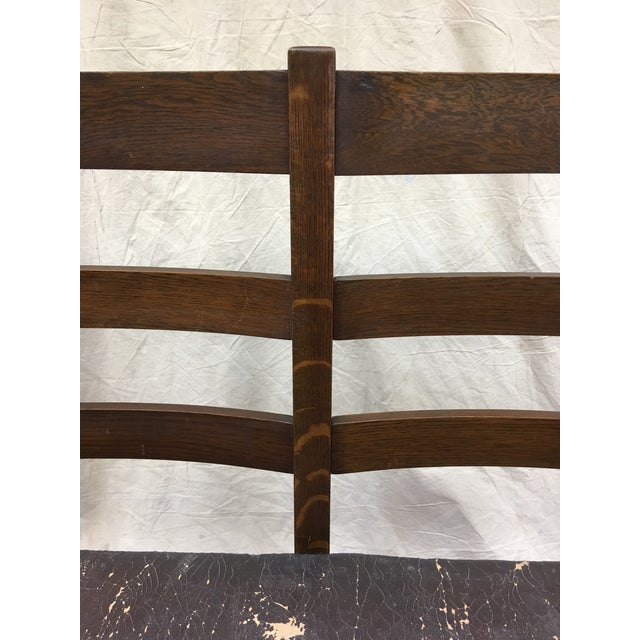 Mission Arts & Crafts Oak Settee For Sale - Image 4 of 9