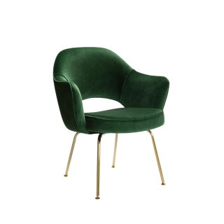 Saarinen Executive Arm Chairs in Emerald Velvet, 24k Gold Edition For Sale