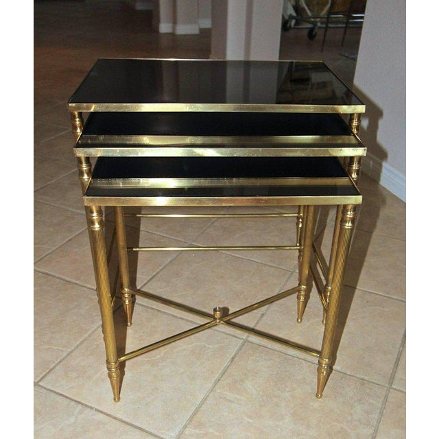 French Bagues Style Brass Nesting Tables - Set of 3 For Sale - Image 11 of 13