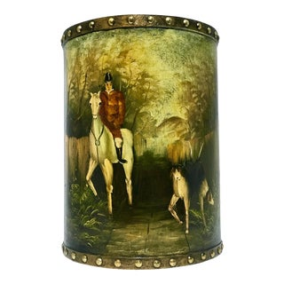 Waste Basket With Painted Hunt Scene For Sale