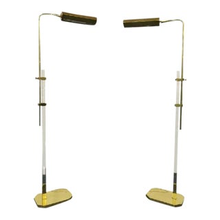 Cedric Hartman Style 1970s Lucite & Brass Floor Lamps - a Pair For Sale