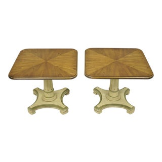 20th Century Empire Pedestal Base Walnut Low Side Tables - a Pair For Sale