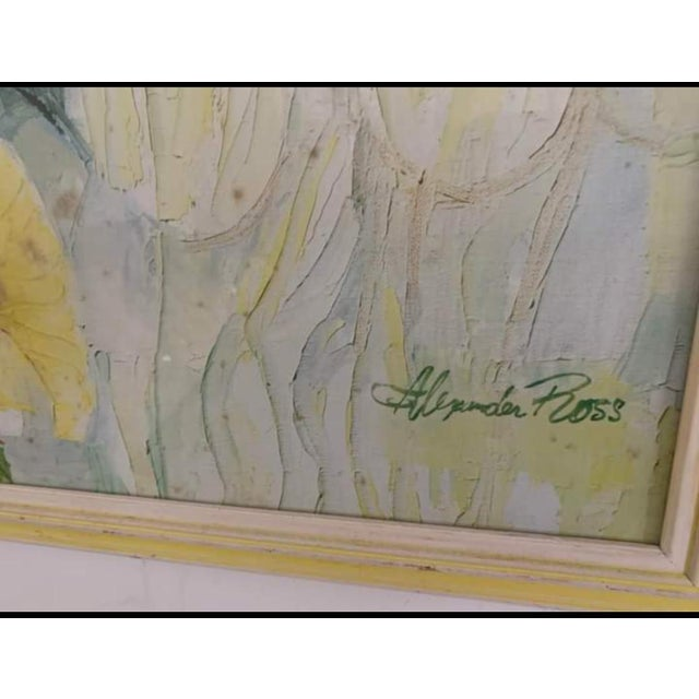 Wood Vintage Mid-Century Artwork Framed Print of Watercolor Painting Signed Alexander Ross For Sale - Image 7 of 13