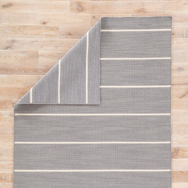 Jaipur Living Cape Cod Handmade Stripe Gray & White Area Rug - 2' X 3' For Sale - Image 4 of 6